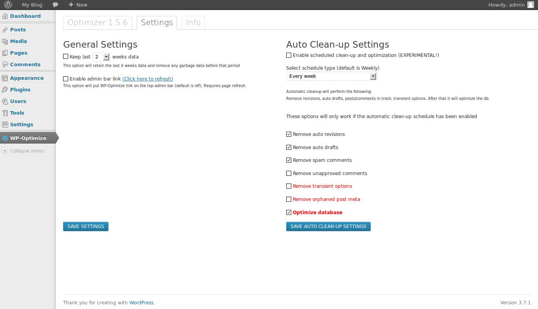 WordPress plugin - Wp optimizer
