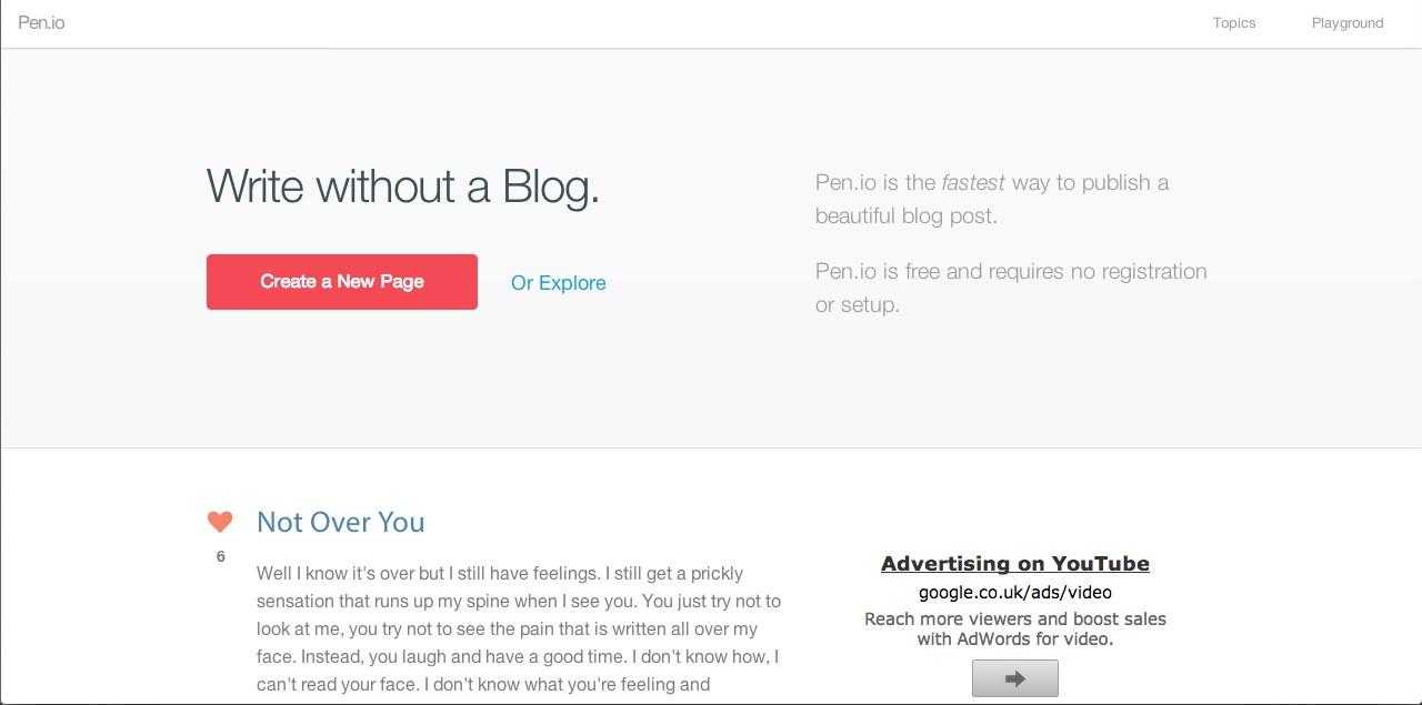 fee blogging sites pen.io